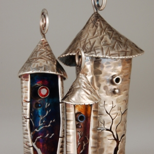 Three Birdhouse Lantern Pendants